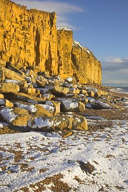 Snow on the beach at Burton Bradstock, Dorset, England, UK, December 2010.