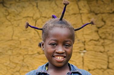 Portrait of local girl, Mbomo Village, Odzala-Kokoua National Park, Republic of Congo (Congo-Brazzaville), Africa, May 2013.