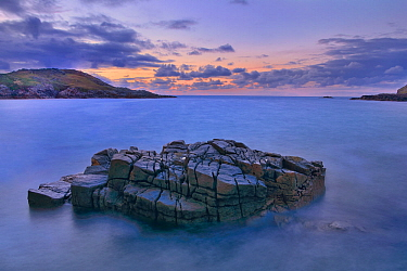 View from Altweary Bay to Melmore Head, Rosguill Peninsula at dusk, County Donegal, Republic of Ireland. August 2014.
