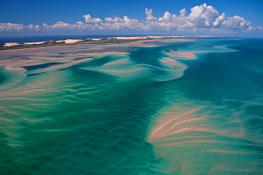 Aerial view of shifting sand banks off the coast of the Bazaruto Archipelago, Mozambique, May 2011.