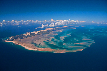 Aerial view of shifting sand forming a spit caused by longshore drift, off the coast of the Bazaruto Archipelago, Mozambique, May 2011.