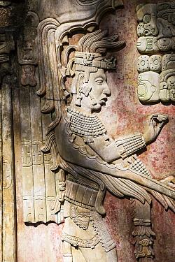 Detail of decoration, Palenque Mayan ruins, Chiapas, Mexico, March 2017.