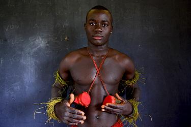Portrait of man during carnival in Eticoga, Orango Island, Bijagos UNESCO Biosphere Reserve, Guinea Bissau, February 2015.