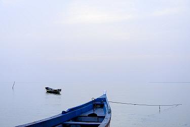 Boats in Atlantic Ocean, Orango Island, Bijagos UNESCO Biosphere Reserve, Guinea Bissau, February 2015.
