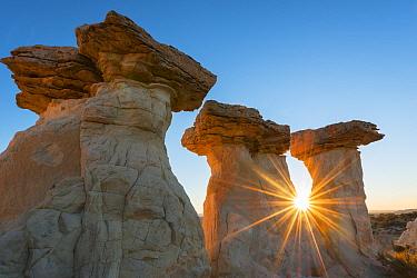 Cap-rocks on the rim of the Escalante Canyon at dawn.  Grand Staircase-Escalante National Monument, Utah, USA, October 2012.