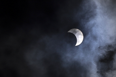 Partial eclipse of the sun, Anjajavy Private Reserve, north west Madagascar, September 2016.