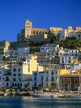 Harbour, Dalt Vila and sa Marina en Eivissa city, Ibiza biodiversity and culture UNESCO World Heritage Site,  Spain.