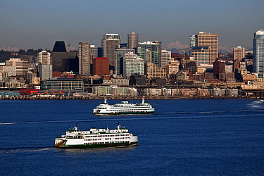 Ferry boat on Elliot Bay and the city of Seattle viewed from Hamilton Viewpoint Park, Washington, USA. January.