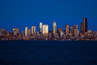 Seattle city skyline as seen from West Seattle, Washington, USA. February 2013.