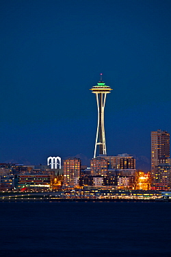 The Space Needle in the Seattle CXenter as seen from West Seattle, Washington, USA. February 2013.