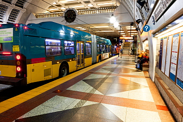 Pioneer Square Station for bus and Sound Transit trains in Seattle, Washington, USA. February 2013.