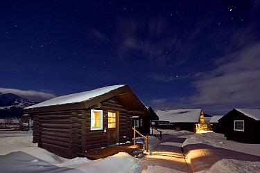 The Lamar Buffalo Ranch at night in snow, Yellowstone National Park, Wyoming, USA, February 2013.