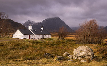 Black Rock Cottage, solitary and exposed on Rannoch Moor, Highlands, Scotland, UK. December 2016.