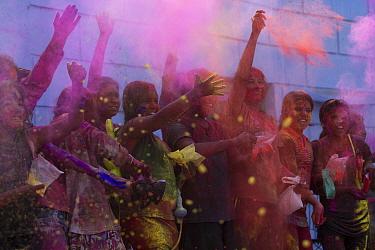 Children during Holi festival,  Jodhpur, Rajasthan, India. March 2015.
