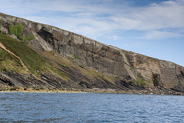 Angular unconformity, between the underlying Cambrian age sedimentary rocks and the overlying Ordovician sedimentary rocks.  Trwyn Wylfa, Abersoch, Wales, August. An unconformity represents a time ga...