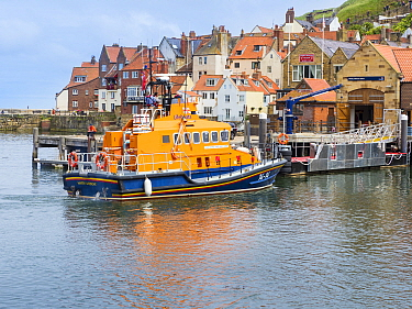 Whitby life boat and lifeboat station, North Yorkshire, England, UK. June.