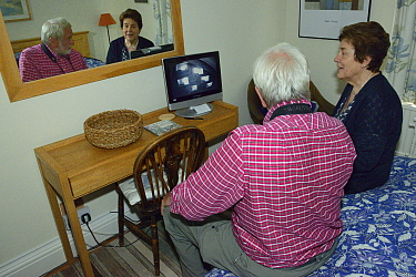 Swift expert Dick Newell describing Common swift (Apus apus) behaviour seen by Pam Gatrell on a monitor linked to an infra red camera in her attic focused on a group of perspex backed swift nestboxes,...