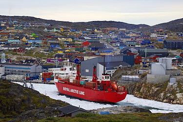 Illulissat harbour with container ship, which brings goods twice a year. Ilulissat Icefjord UNESCO World Heritage Site, Greenland. August 2014. Photographed for The Freshwater Project