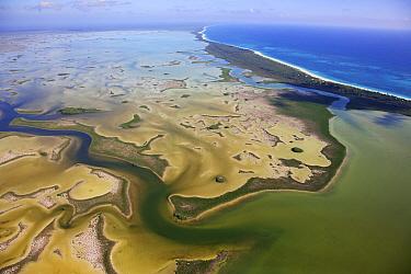 Aerial shot of the Laguna Sian Ka'an, freshwater lagoon, at edge of the sea, close to Boca Paila, Quintana Roo, Yucatan Peninsula, Mexico . Photographed for The Freshwater Project February 2014