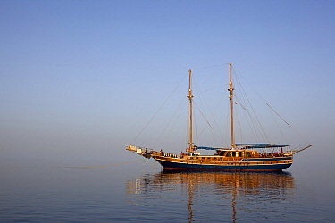 San Marco Motor Sailing Yacht, Classic schooner-rigged two-masted caique, Sha'ab Rumi Reef, Sudan, Red Sea. May 2011.