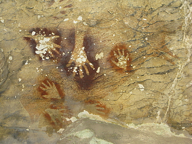 Hand paintings in Sumpang Bita cave, among the oldest paintings in the world at 39,000 years, Sulawesin ,Indonesia