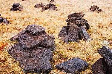 Peat cutting near Broadford, Isle of Skye, Scotland, UK, February 2012.