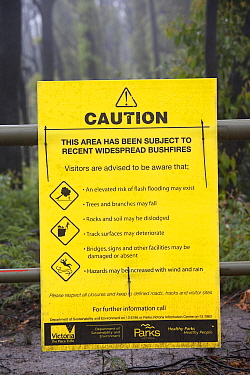 Warning Sign in burnt forest near  Kinglake, one of the communities worst affected by the catastrophic 2009 Australian Bush Fires in the state of Victoria in which 173 people were killed. Victoria, Au...
