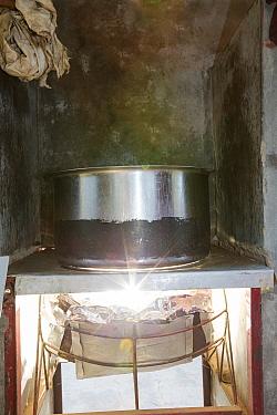 Solar cookers used to cook food for school students. Muni Seva Ashram in Goraj, near Vadodara, India. December 2013.
