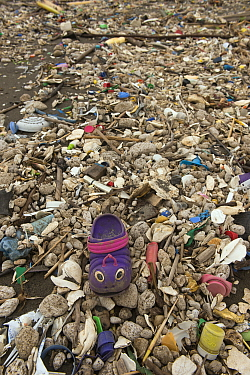 Marine plastic pollution washed up on beach at Quetzalito, Guatemala.