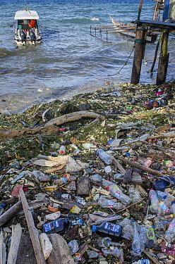 Marine plastic pollution washed up on Biak Island, West Papua, Indonesia.