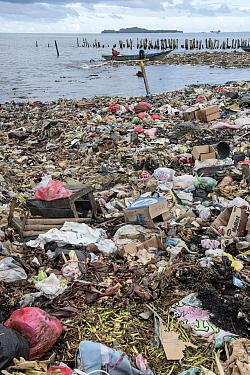 Marine pollution on beach near Sorong Fish Market, Bos Wesen Market, Sorong, West Papua, Indonesia