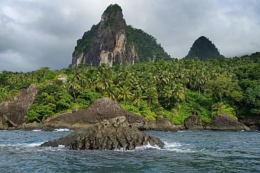 Picos Dois Irmao (Two Brothers peaks) on the coast of Obo Natural Park, Principe Island UNESCO Biosphere Reserve,  Democratic Republic of Sao Tome and Principe, Gulf of Guinea.