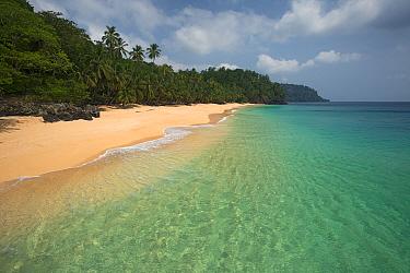 Beach at the north of Principe Island, Democratic Republic of Sao Tome and Principe, Gulf of Guinea.