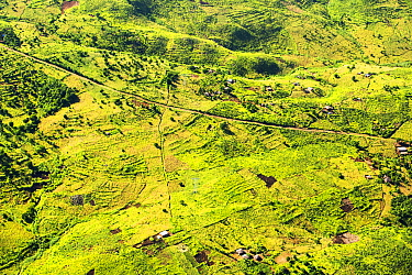 Aerial view of land deforested for agriculture, Malawi. March 2015.