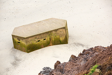 Second World War pill box on the beach, this was originally on the cliffs above but fell due to coastline erosion. Aldbrough,  Yorkshire, England, UK. August 2013.