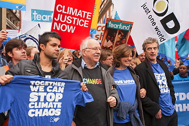 Former BBC weatherman Michael Fish, the actress Greta Scacchi and the actors Peter Capaldi and Junade Khan at the Stop Climate Chaos Coalition Demonstration. London, England, UK, December. Saturday 5t...