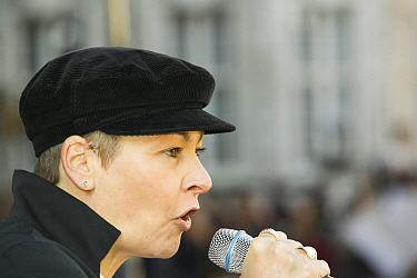 Caroline Lucas a Green Party MEP at the I Count climate change rally in London, UK, November 2006.