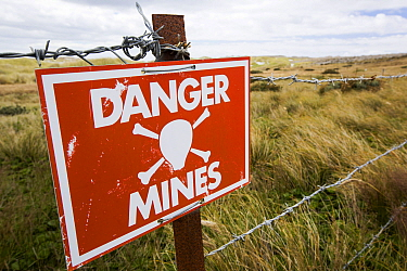 Warning sign about the presence of Argentinian mines on the Falkands, February 2014.
