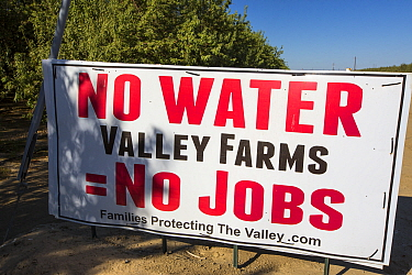 Farmers' sign about the water crisis during the 201117 California drought, near Bakersfield in the Central Valley, California, USA, September 2014.