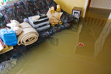 Interior view of house during flooding, Toll Bar near Doncaster, South Yorkshire, England, UK,  28th July 2007.