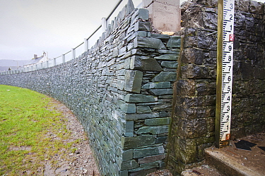 New flood defences built in Keswick after the disastrous 2009 floods, Lake district, England, UK. January 2012.