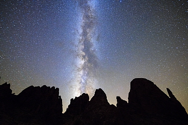 Milky Way over Kofa Queen Canyon, Kofa Mountains,  Kofa National Wildlife Refuge, Arizona, USA. September 2017.