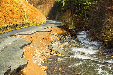 The A591, the main road through the Lake District, completely destroyed by the floods from Storm Desmond, Cumbria, UK. Taken on Sunday 6th December 2015. England, UK, December 2015.