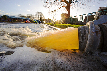 Pumping out floodwater from the Civic Centre in Carlisle, Cumbria on Tuesday 8th December 2015, after torrential rain from storm Desmond. England, UK, December 2015.