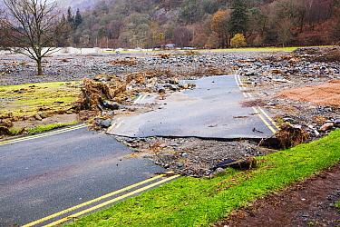 Road in Glenridding away by floods after Storm Desmond, Cumbria, England, UK, December 2015.