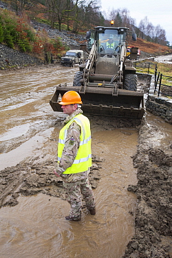 The Army helping to clear A591 after flooding caused major damage during Storm Desmond, Cumbria, England, UK, 3th December 2015.