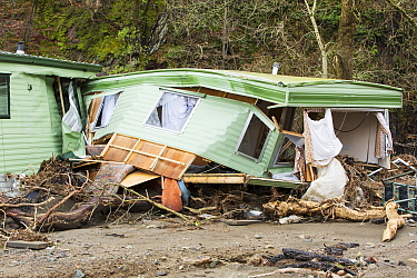Caravan park on the banks of the River Greta damaged by floods from Storm Desmond, Cumbria, England, UK, 6th January 2016.