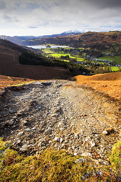 Storm Desmond wreaked havoc across Cumbria with floods and destruction. The super saturated ground failed in many places leaving landslip scars on many of the fellsides, this one is on Stone Arthur ab...