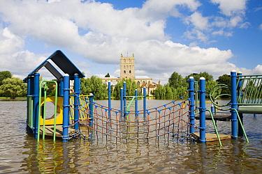 Flooded playground in Tewkesbury, Gloucestershire, England, UK, 24th July 2007.