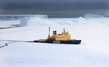 Kapitan Klebnikov, an ice breaker, growing through ice in the Weddell Sea near Snow Hill Island, Antarctica, November 2006